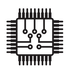 Computer chip electronic circuit board line art vector