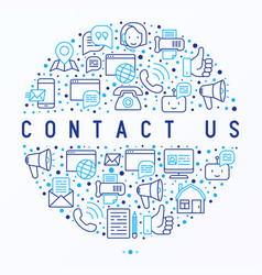 Contact us concept in circle vector