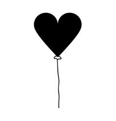 Contour nice heart balloon decoration design vector