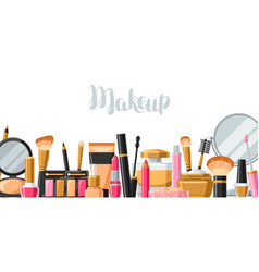 Cosmetics for skincare and makeup banner vector