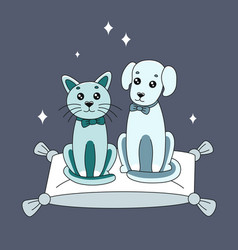 cute cat and dog for logo vector image
