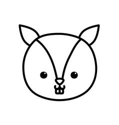 cute little squirrel head animal cartoon thick vector image