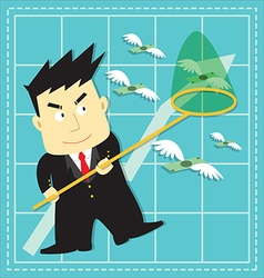 Cute Stock Market Investor Flat Cartoon vector image