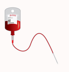 donate blood concept with blood bag vector image