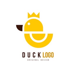 Duck logo original design badge with yellow vector