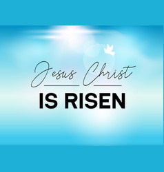 Easter typography banner he is risen sky and sun vector