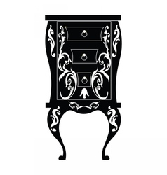 Elegant commode table with drawers vector
