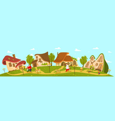 Fantasy village cottage idyllic countryside vector
