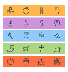 Farm icons set collection of rake sprinkler vector