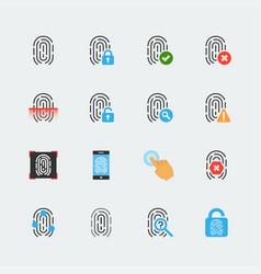 fingerprint icon set in flat style vector image