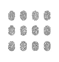 fingerprint sign black thin line icon set vector image