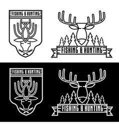 Fishing and hunting line craft vintage labels set vector