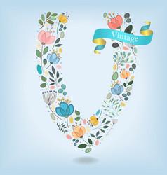 floral letter v with blue ribbon vector image