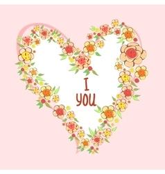 flowers in heart shape vector image