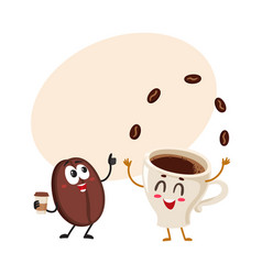 funny characters of crazy coffee bean and juggling vector image