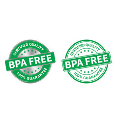 Grunge stamp and silver label bpa free vector