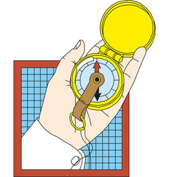 hand holding a compass design vector image