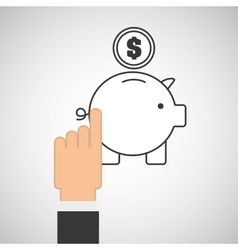 hand touch piggy save currency vector image