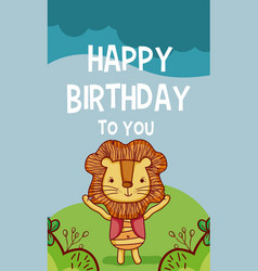 happy birthday to you lion cartoon vector image