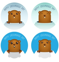 Happy Groundhog Day with Groundhog Set vector