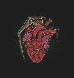 Heart grenade drawing vector