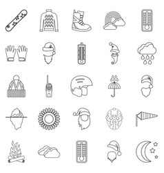 hockey stuff icons set outline style vector image