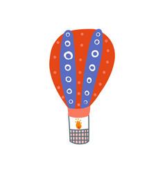 hot air balloon summer travel air vehicle cartoon vector image