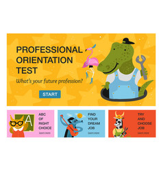 Humanized animals professions horizontal banners vector