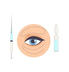 Hyaluronic acid treatment mimic wrinkles under vector