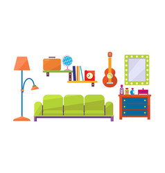 interior of a living room mirror chest of vector image