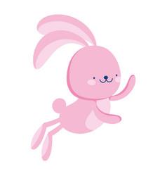 jump rabbit animal cartoon isolated icon style vector image