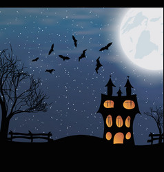 landscape with a halloween castle and big moon vector image