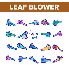 Leaf blower equipment collection icons set vector
