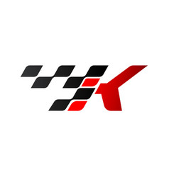 Letter k with racing flag logo vector