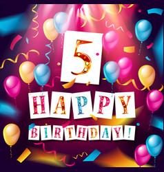 logo 5st anniversary celebration vector image