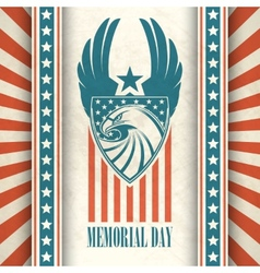 Memorial day typographic card with american vector