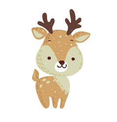 Merry christmas holiday graphic cute deer with co vector