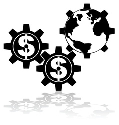 Money moves the world vector image