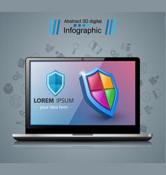 notebook infographic icon with white reflect vector image