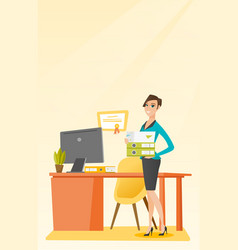 Office worker holding pile folders vector