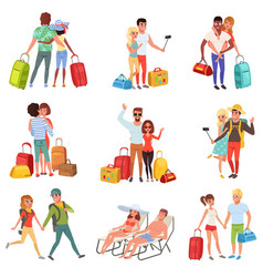 People traveling set family couple with luggage vector