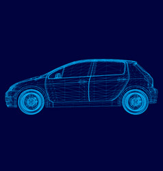 polygonal machine of blue lines on a dark vector image