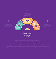polygonal semicircle template infographic 3 vector image