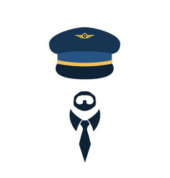 portrait of pilot in a cap vector image