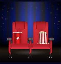 realistic red cinema movie theater seat vector image