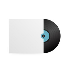 Realistic vinyl record with cover mockup disco vector