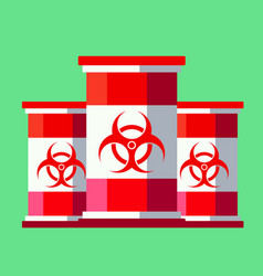 Red-white barrels with toxic waste vector