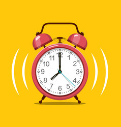 ringing red alarm clock symbol on yellow vector image