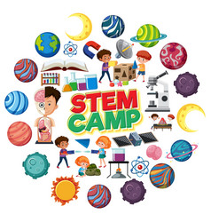 science camp logo with many planets in circle vector image