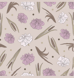 Seamless pattern with a plant acorus calamu vector